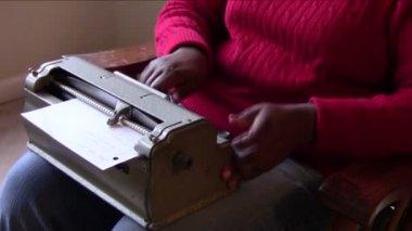 Using Braille Writer — Stock Video