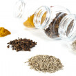 Spices a small group and in banks on a white background — Stock Photo