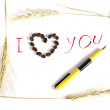 Inscription ink , heart from coffee and rye stalks - Stock Photo
