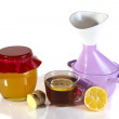 Honey, inhaler, tea, lemon, ginger  — Stock Photo