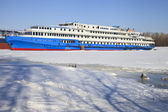 The passenger steamship on winter parking — Stock Photo