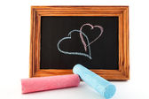 Drawing chalk hearts — Stock Photo