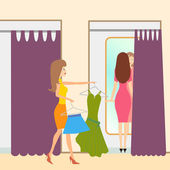 Two girls in a fitting room — Stock Vector
