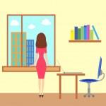 Girl looking througth the window — Stock Vector #21759155