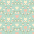 Seamless flower and hearts  background - Imagens vectoriais em stock