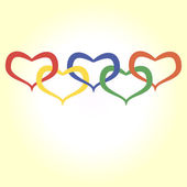 Illustration of hearts in olympic style — Stock Vector