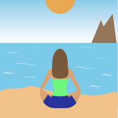 Girl practicing yoga on the beach — Stock Vector