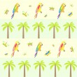 Stock Vector: Seamless background with palm tree and parrots