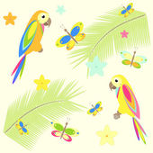Seamless background with palm tree and parrots — Stock Vector