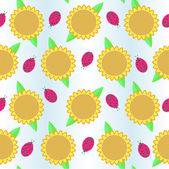 Background with sunflowers and ladybird — Stock Vector