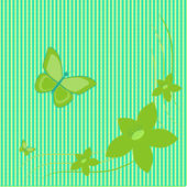 Green flowers and butterflies on green background — Stock Vector