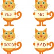 Set of cartoon cats with signs — Stock Vector