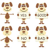 Set of cartoon dogs with signs — Stock Vector