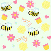 Background with bees and honey — Stockvektor