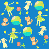 Background with The little prince characters — Stock Vector