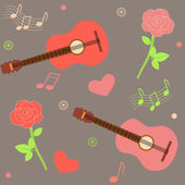 Seamless musical pattern with guitars and roses — Stock Vector