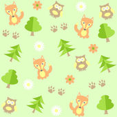 Background with owls and foxes — Stock Vector