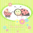 Stock Vector: ladybird mom and baby card