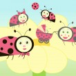 Ladybird family illustration — Stock Vector