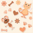Seamless background with cats, dogs and heart — Stock Vector