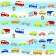 Background with cartoon cars — Stock Vector