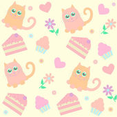 Background with cats and cakes — Stock Vector