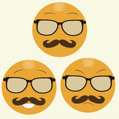 Smiles with hipster's glasses and moustache — ストックベクタ