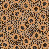 Vector leopard background with paws — Stock Vector
