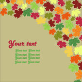 秋のカエデの葉の背景カード — ストックベクタ