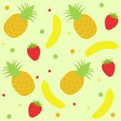 背景与草莓菠萝和香蕉 — 图库矢量图片