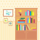 Room with bookcase — Stock Vector