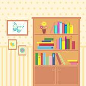 Salón con librería — Vector de stock