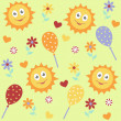 Background with sun, ballons, flowers, hearts — Stock Vector