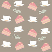 Background with cakes and coffee cups — Stock Vector