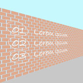 Brick wall in perspective — Stock Vector