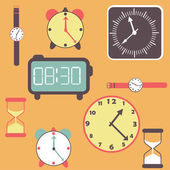 Background with clocks and watches — Stock Vector