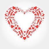 Heart with love symbols — Stock Vector