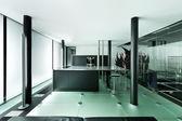 Interiör, moderna loft nattetid — Stockfoto