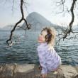 Child near the lake, girl  — Stock Photo