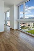 Interior, empty new apartment, windows — Stock Photo