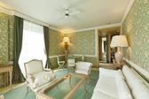 Interior luxury apartment, comfortable suit , lounge — Stock Photo