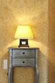Interior luxury apartment, detail room, table lamp — Stock Photo