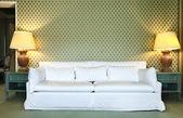 Interior luxury apartment, comfortable suit, divan — Stock Photo