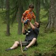 Father playing with son — Foto Stock