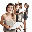 Portrait of young businesswomen at work isolated on white background — Stock Photo