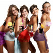 Four girls fun with a drink, portrait in studio, isolated on white background — Stock Photo #29997831