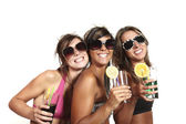 Three girls have fun at the party, studio portrait — Stock Photo