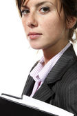 Beautiful businesswoman portrait with agenda — Stock Photo