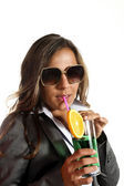 Career woman with drink — Stock Photo