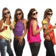 Four girls have fun at the party — Stock Photo